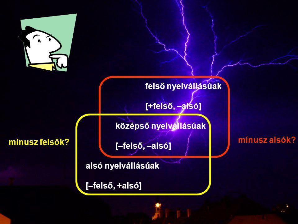 középső nyelvállásúak [–felső, –alsó] alsó nyelvállásúak